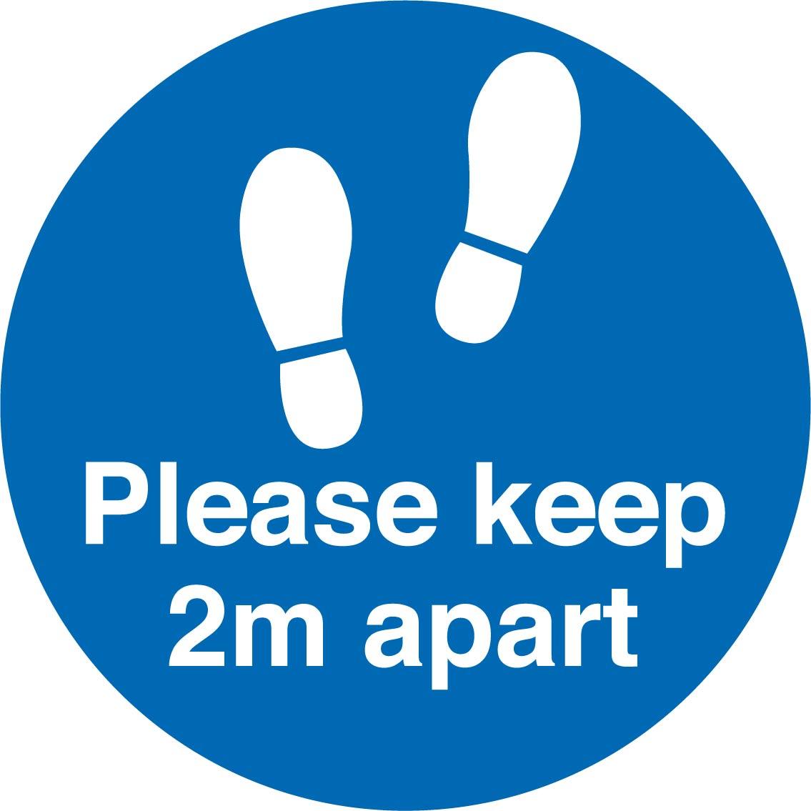 Social Distancing 2m apart footprint