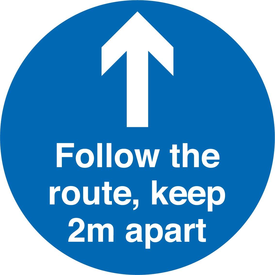 Social Distancing follow route 2m