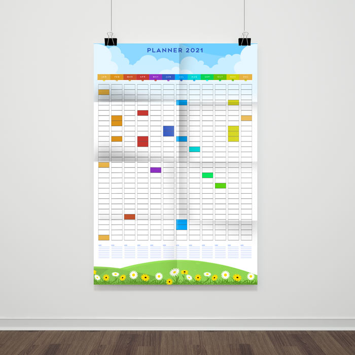 Folded Wall Planner A1to A4