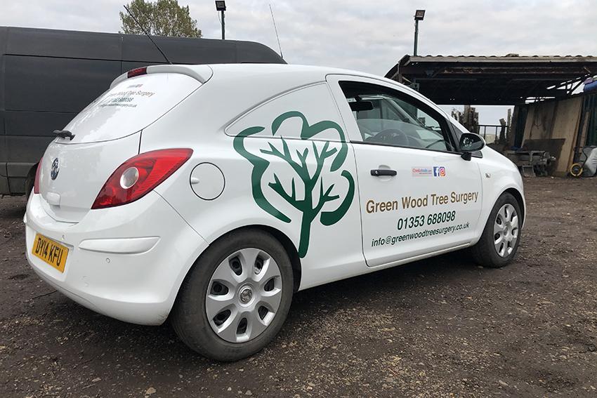 Green Wood Tree Surgery Vauxhall Corsa van graphics