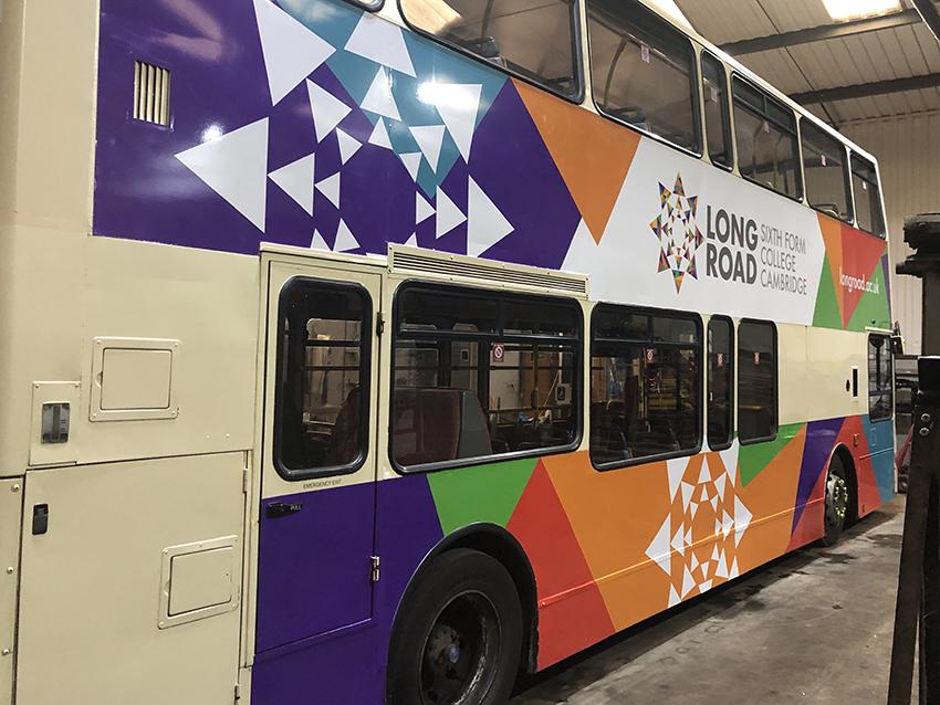 Long Road double decker bus wrap