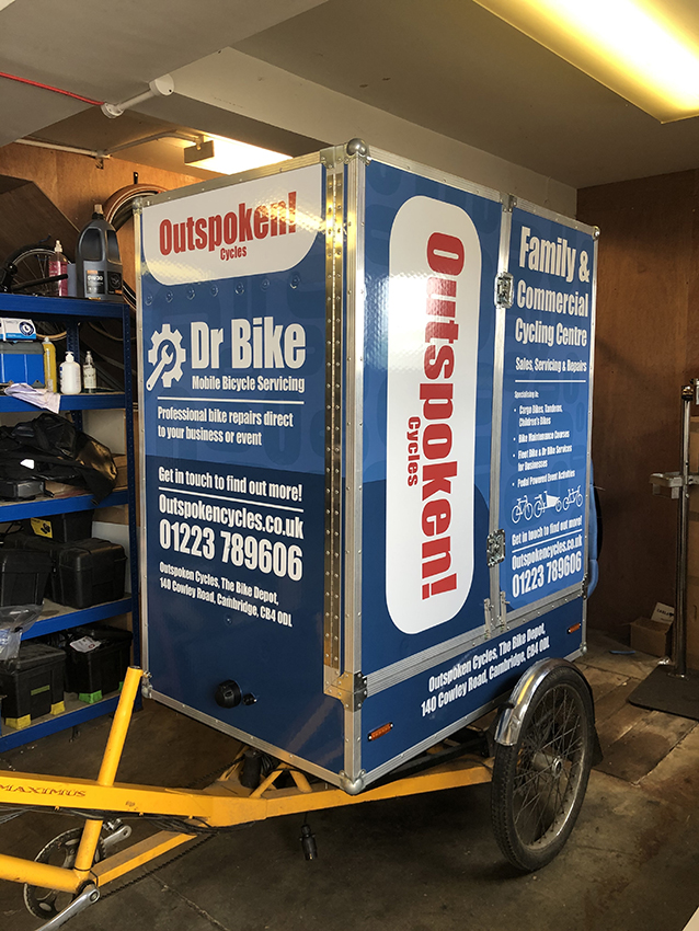 Bicycle courier bike and box wrapped for advertising