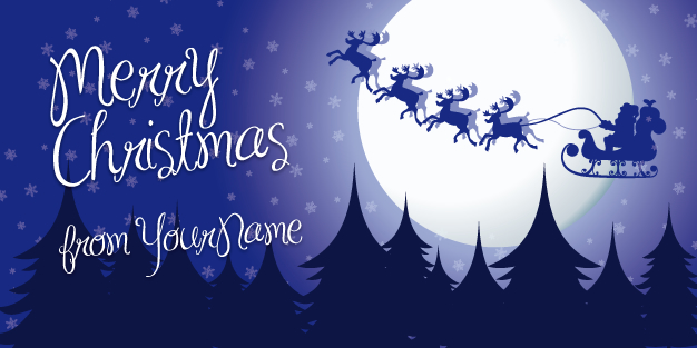 Christmas Moon And Sleigh Banner Template Image