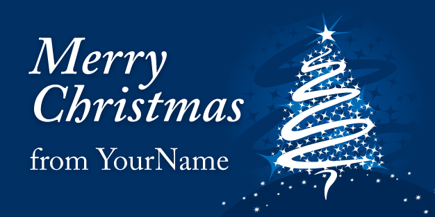 Christmas Tree Blue Banner Template Image