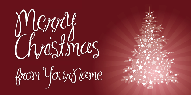 Christmas Tree Red Banner Template Image