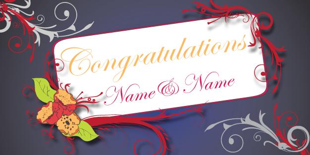 Wedding Congratulations Banner Template Image