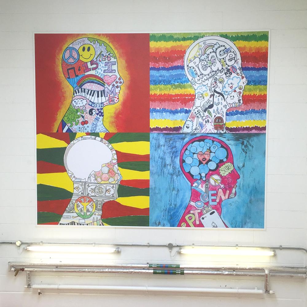 Stairwell Tension Framed Student Artwork