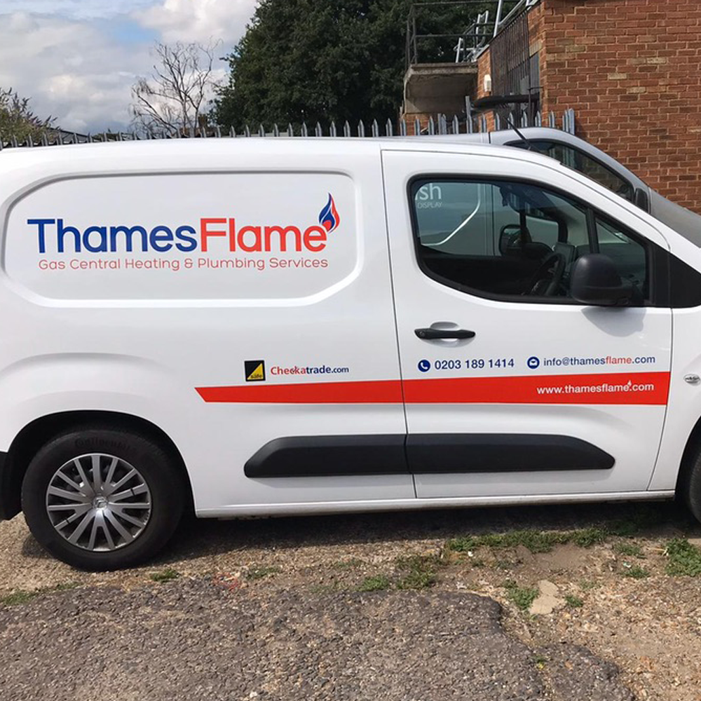 Small Van Graphics Thames Flame