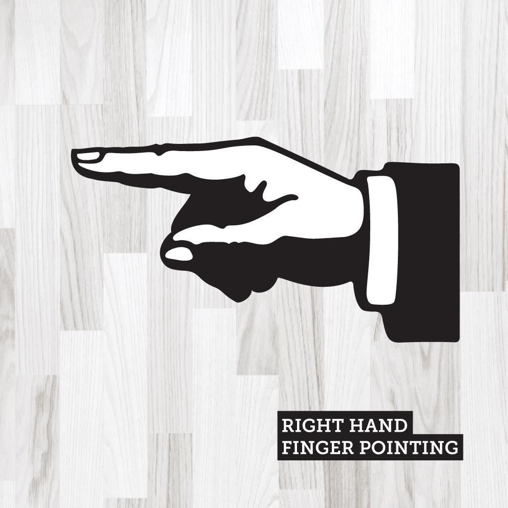 Finger Pointing Right Black