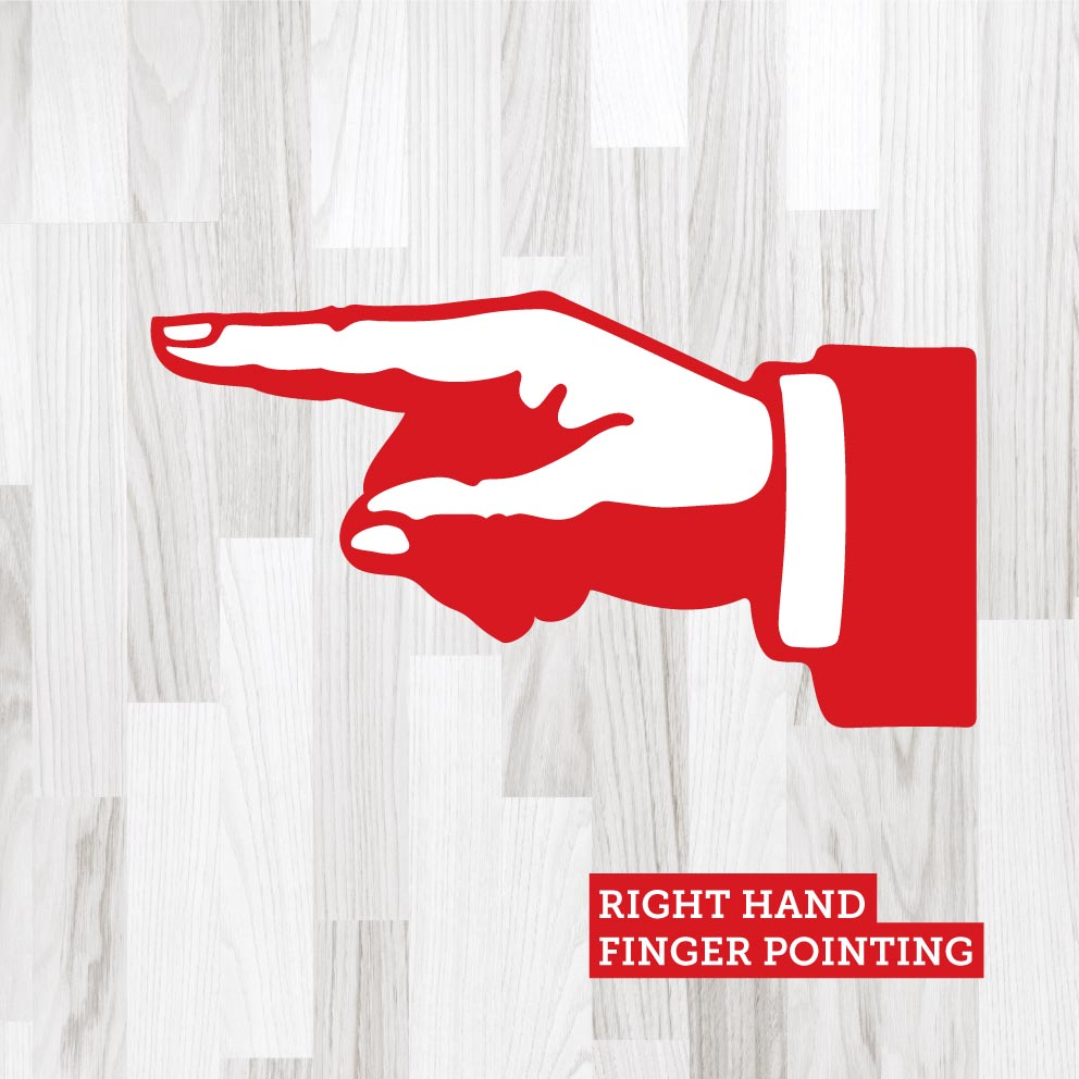 Finger Pointing Right Red