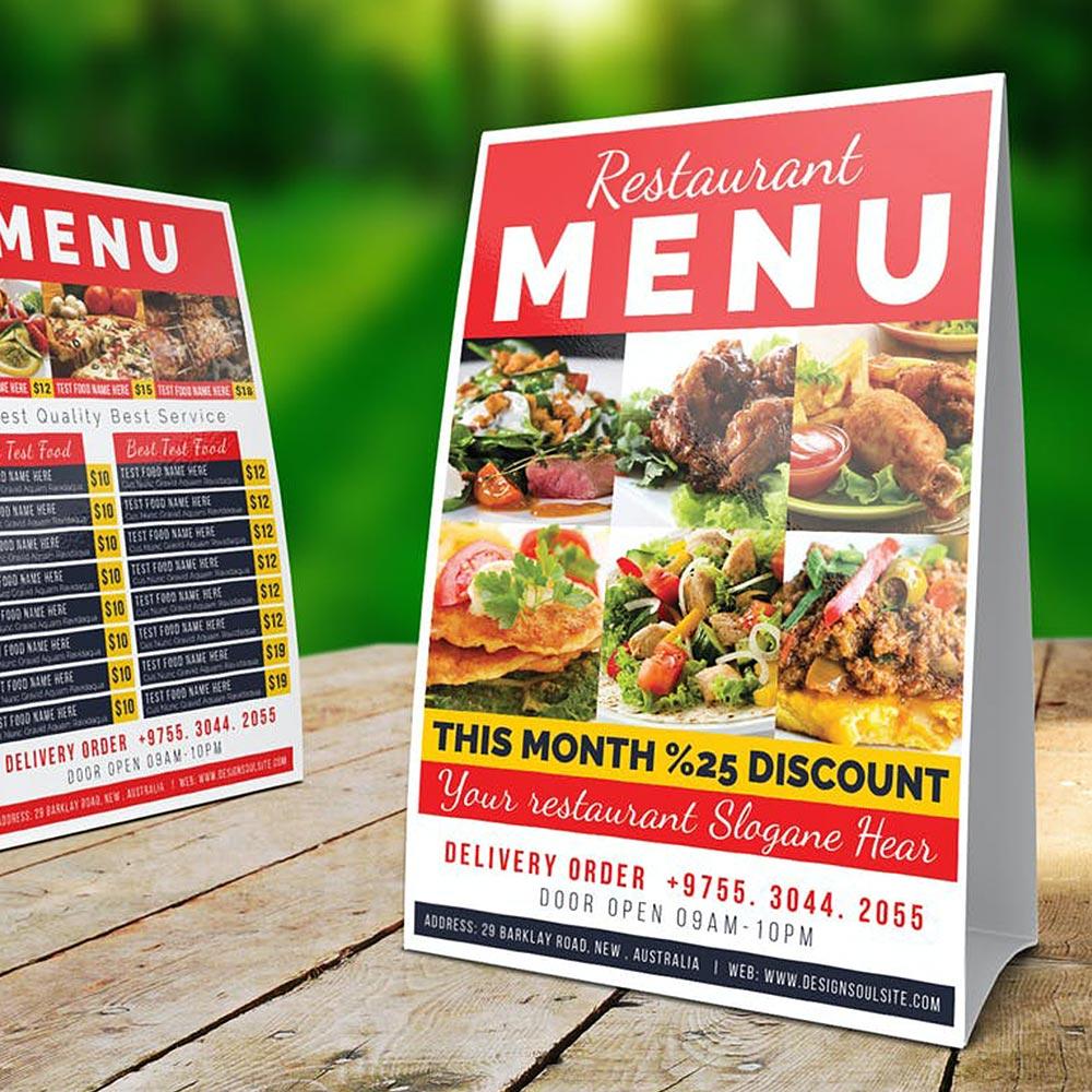 Restaurant Menu Tent Cards 2