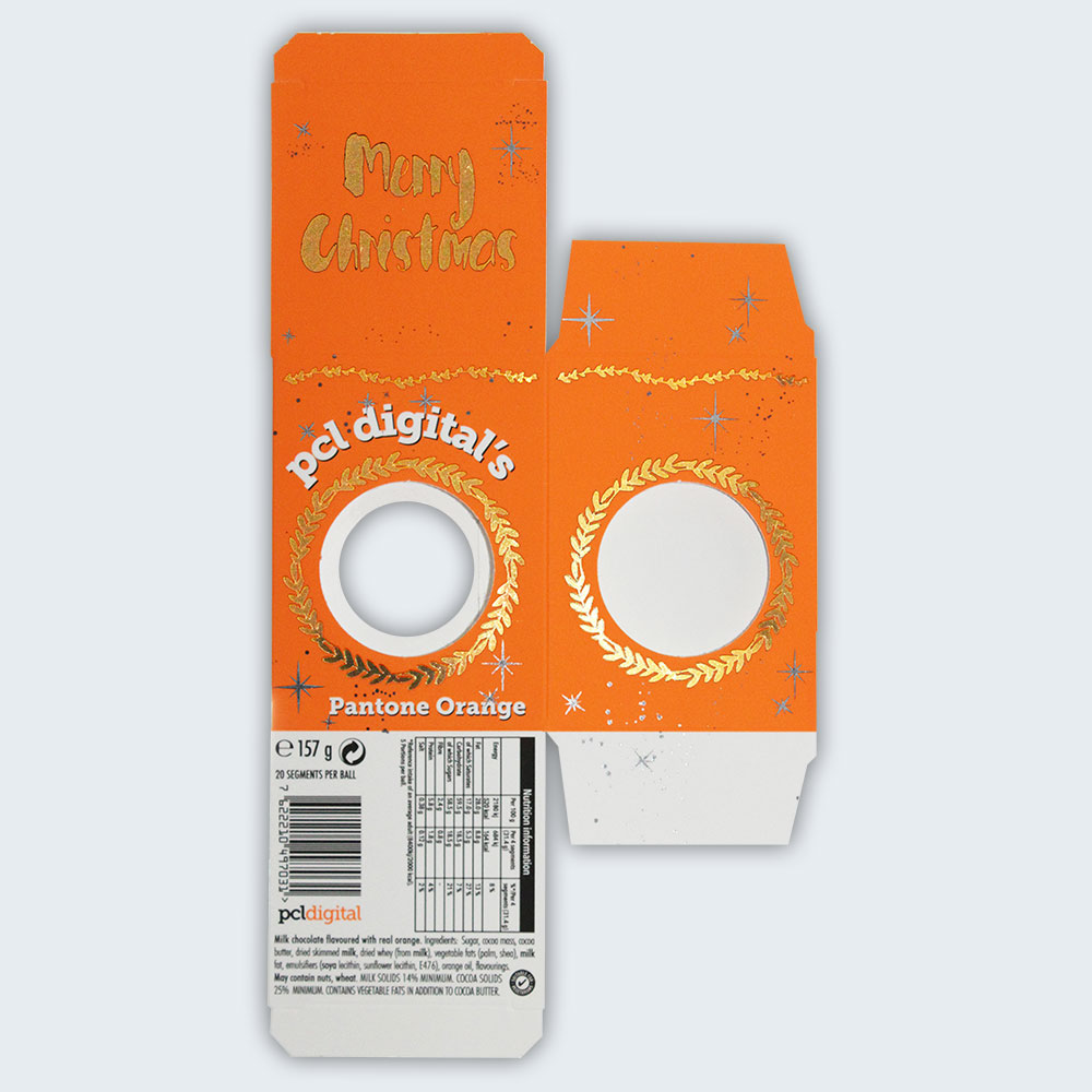 Flat packed PCL Digital Chocolate Orange Box