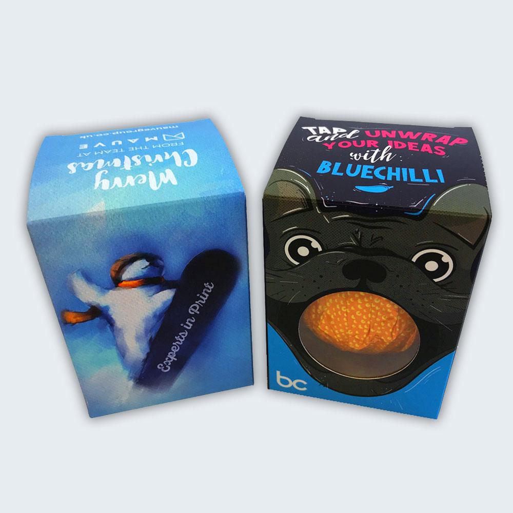 Mauve and Blue Chilli Branded Chocolate Orange Boxes