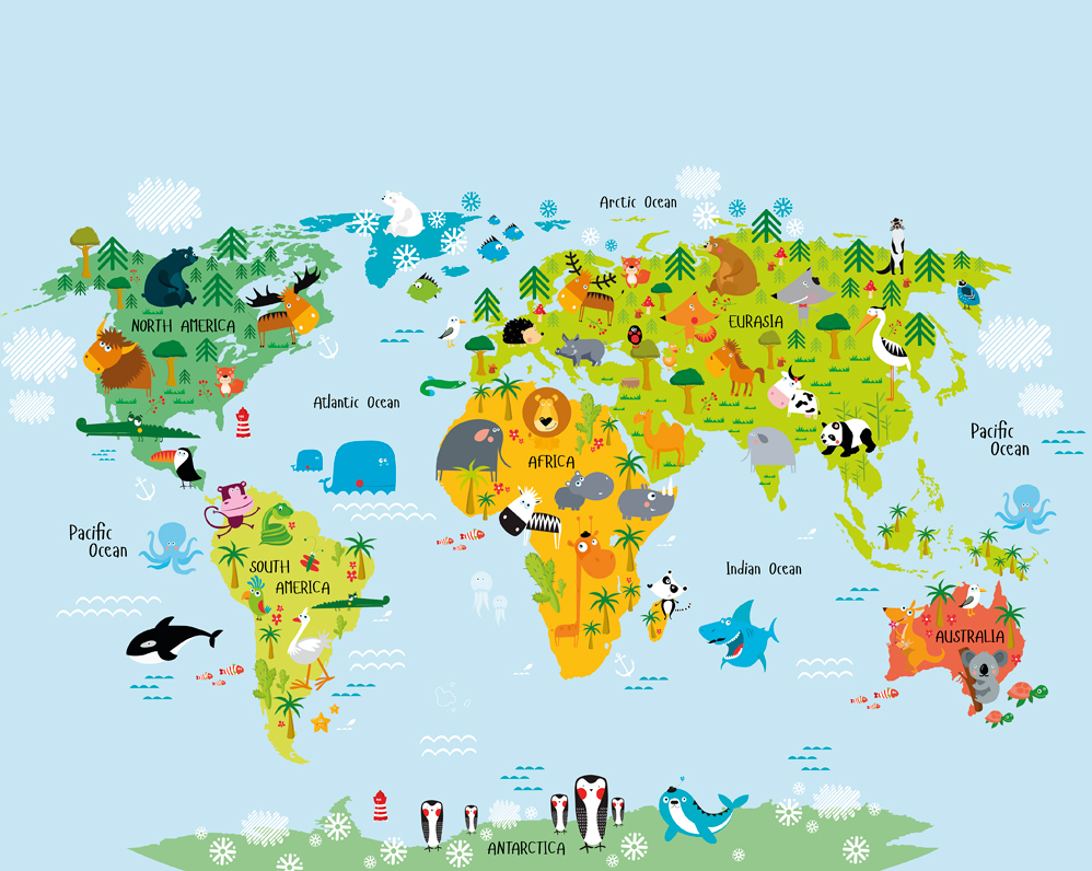 The whole Wide World Map Children's Wallpaper Mural
