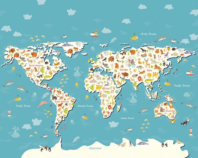Children's World Map Wallpaper Mural
