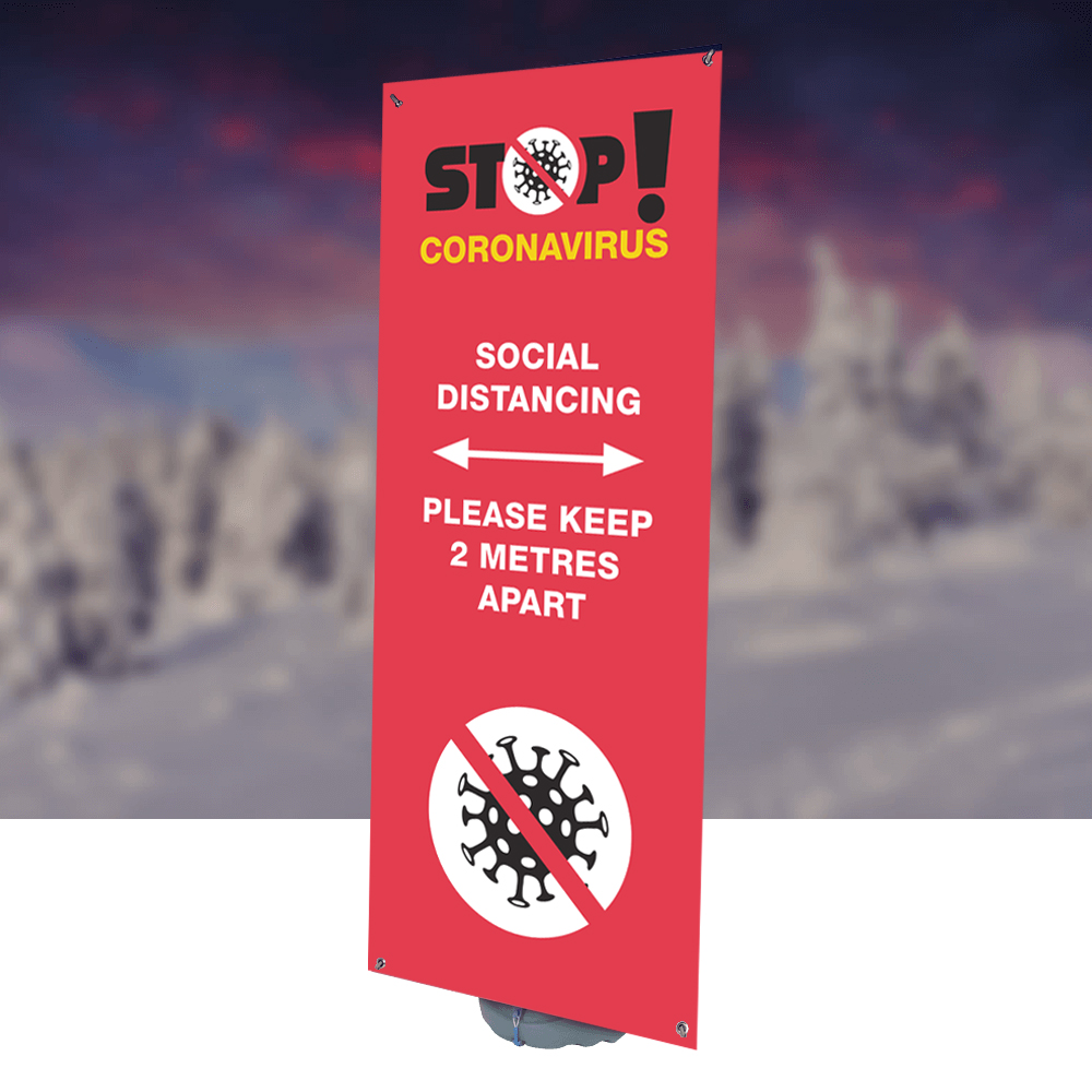 Social Distancing Outdoor Bannerstand