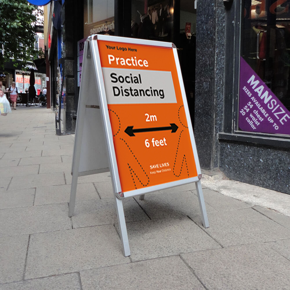 A Frame Pavement Sign - Social Distancing