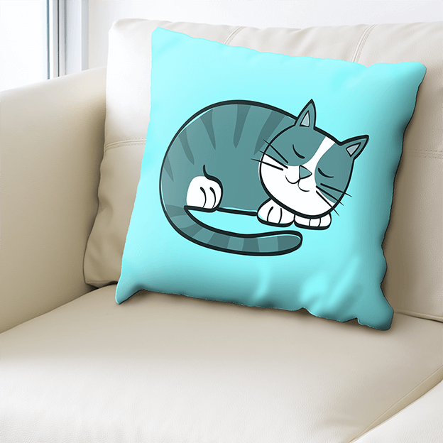 Custom Printed Cushions - Blue Cat