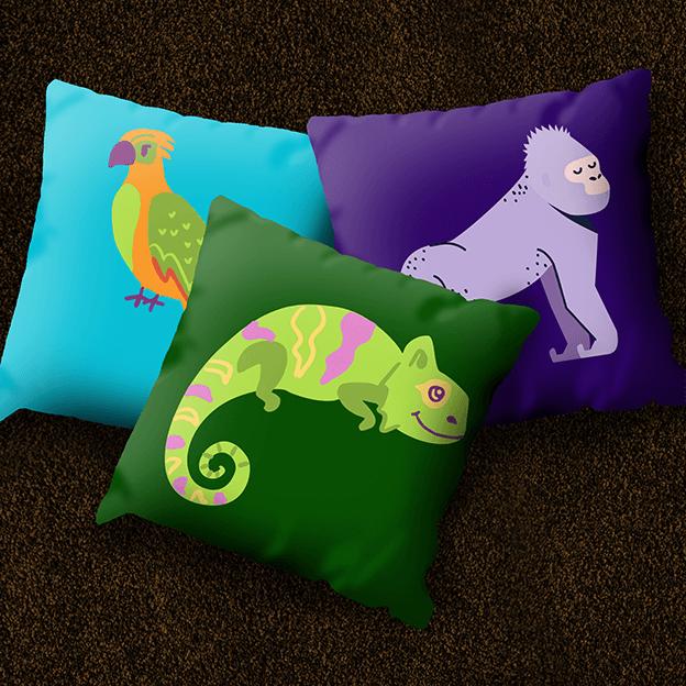 Custom Printed Cushions - Zoo Trio