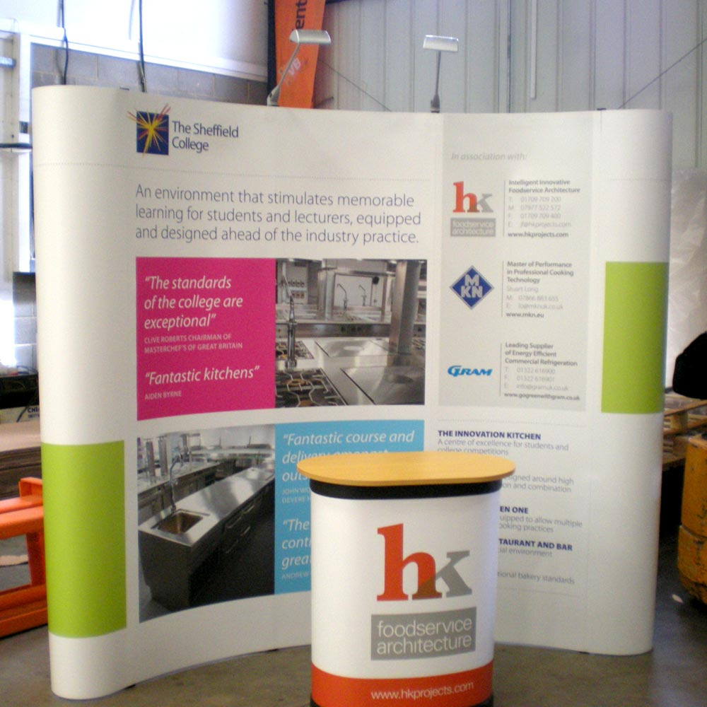 CrystalFlex Material in use with a pop up stand