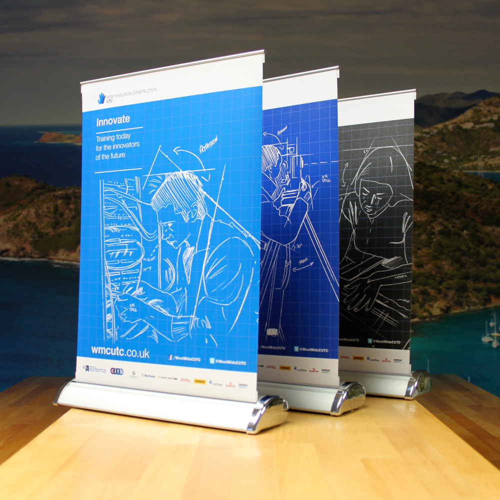 Emblem desk top roller banners