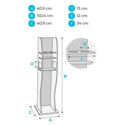 Hand Sanitiser Dispenser Stand - Shelf Stand Dimensions
