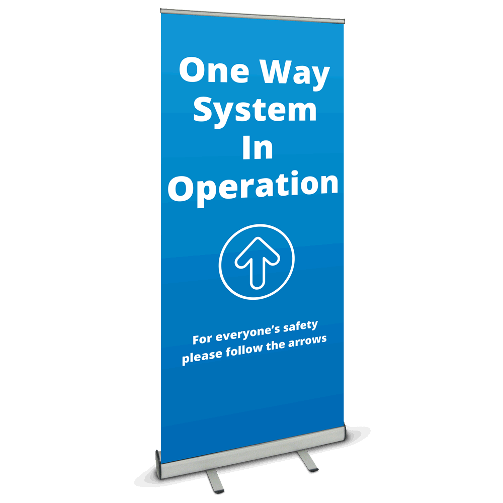 850 Roller Banner - One Way Blue