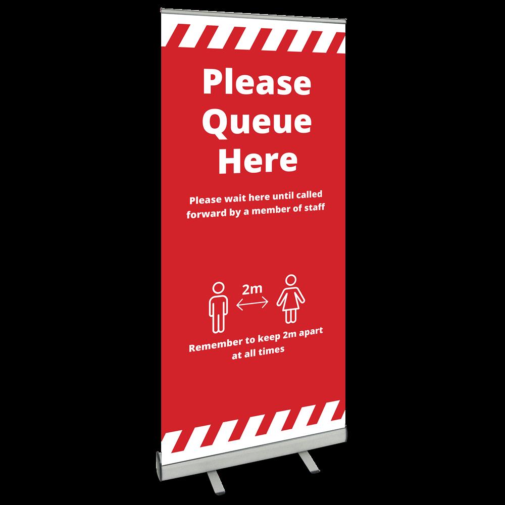 850 Roller Banner - Please Queue Alert