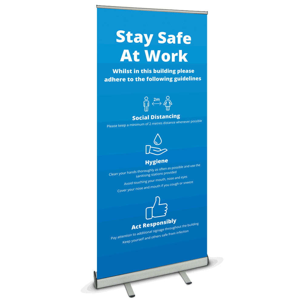 850 Roller Banner - Safety At Work Blue