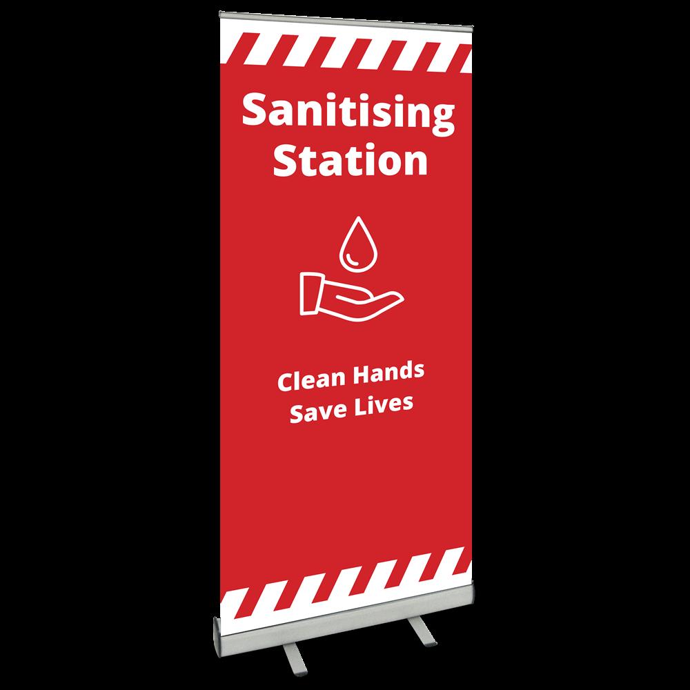 850 Roller Banner - Sanitising Station - Alert