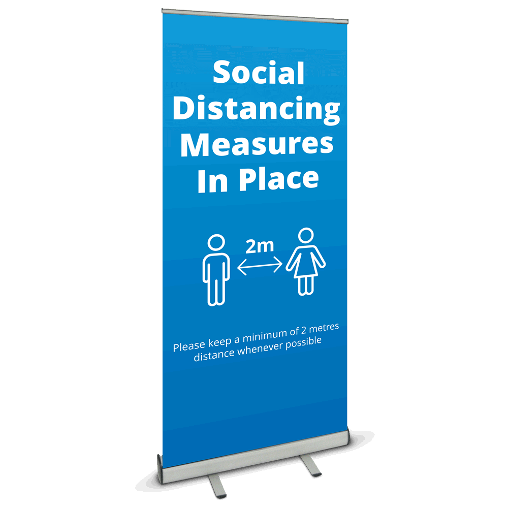 850 Roller Banner - Social Distancing Blue