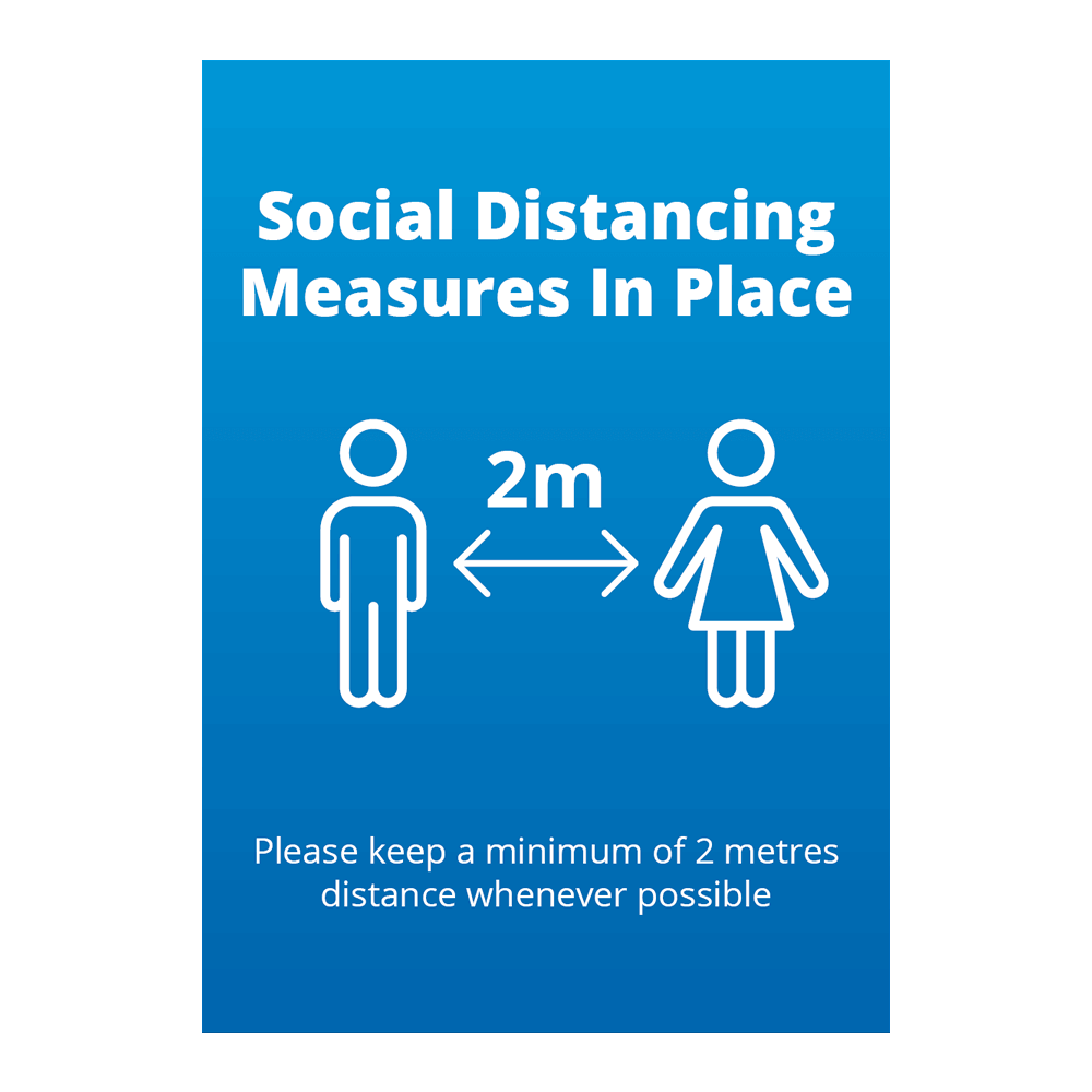 Sign - Social Distancing Blue