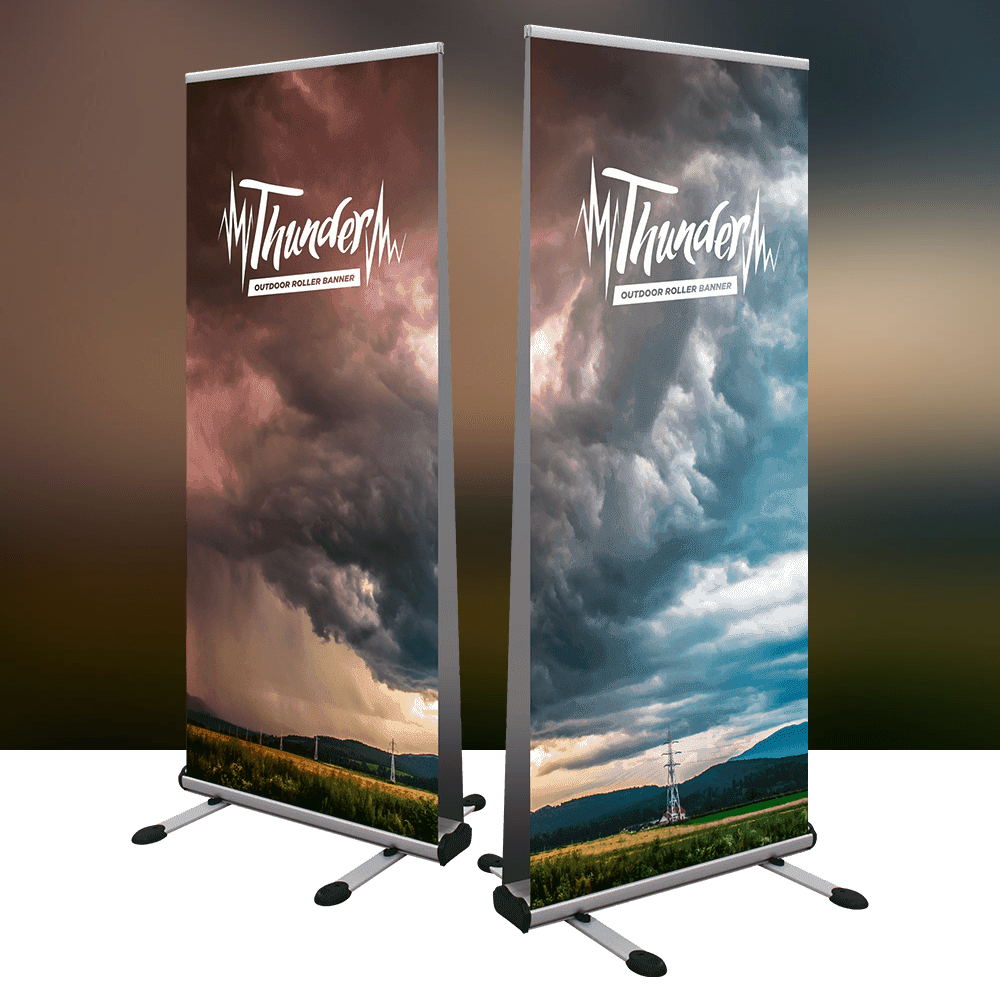 Thunder double sided premium outdoor Roller Banner is weather resilient