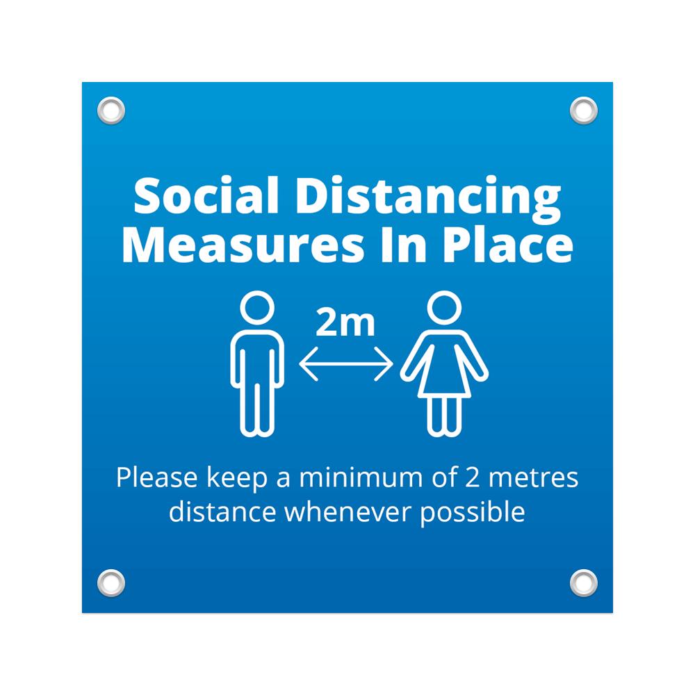 1x1 Social Distance Banner - Blue