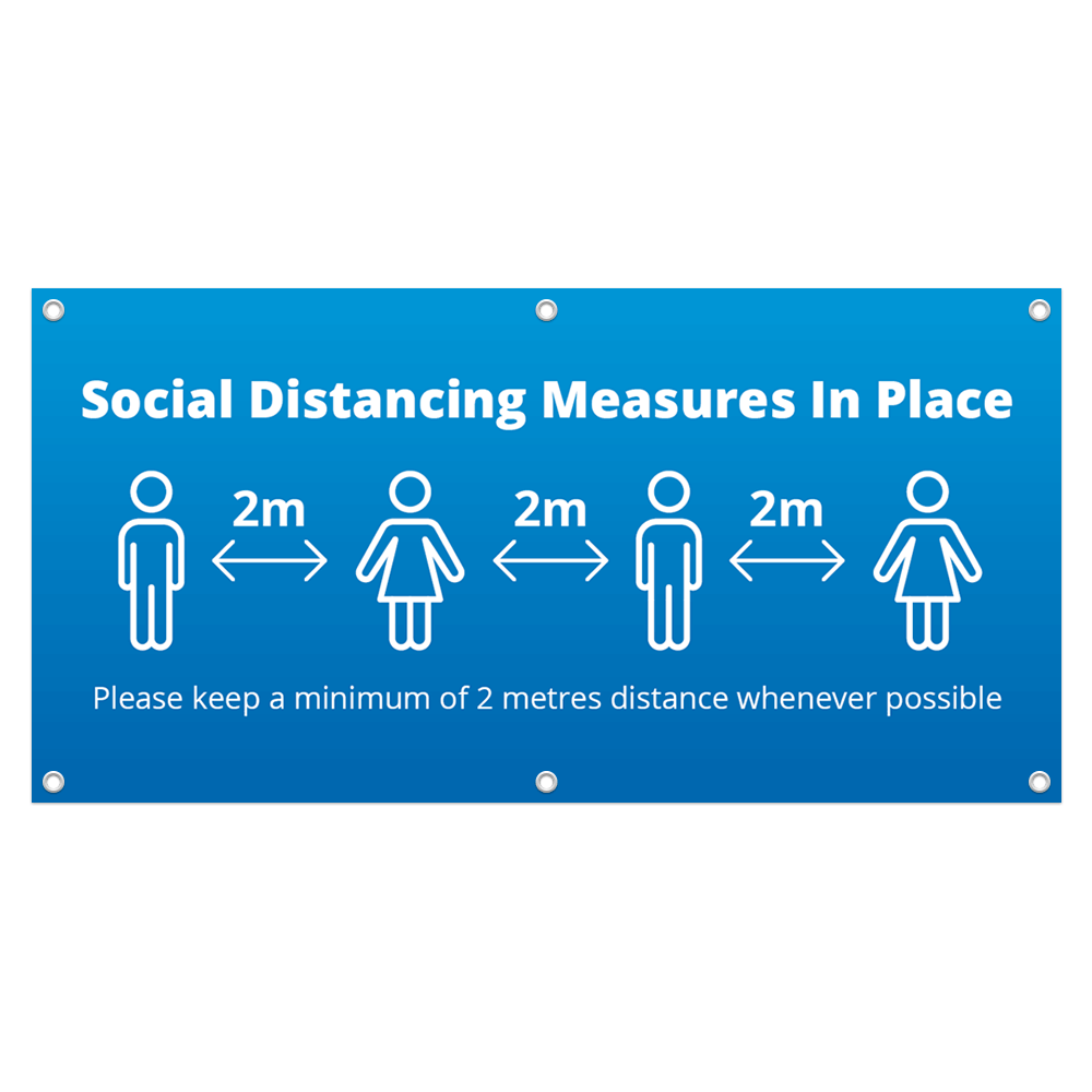 2x1 Social Distance Banner - Blue