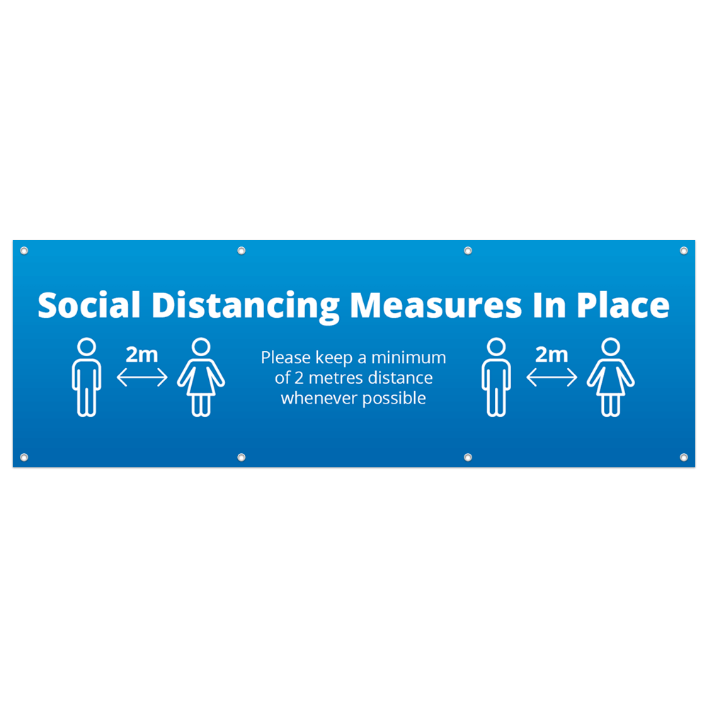 3x1 Social Distance Banner - Blue