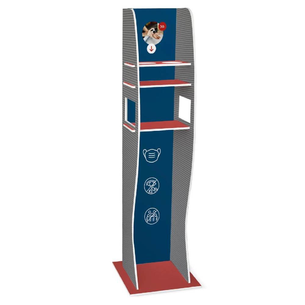 Hand Sanitiser Dispenser Stand - Grey Stand With Shelves