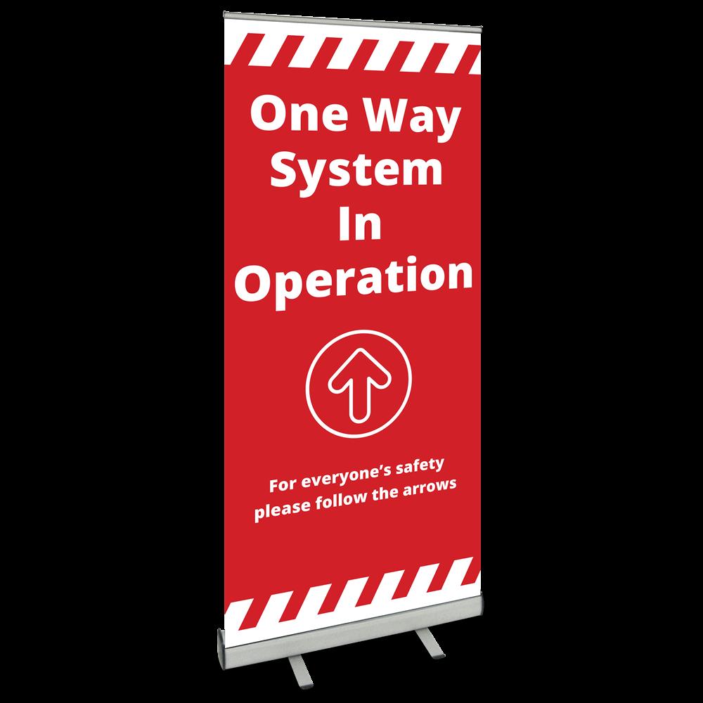 850 Roller Banner - One Way Alert