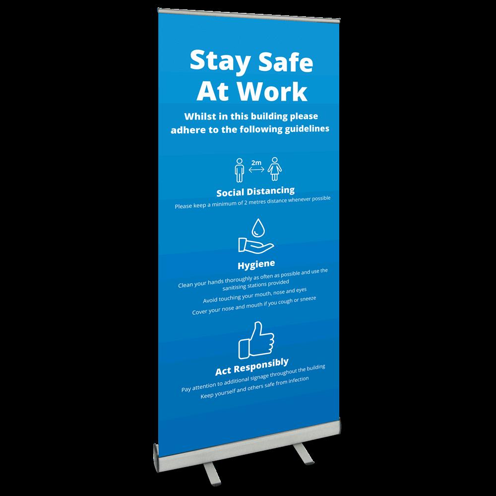 850 Roller Banner - Safety At Work Blue