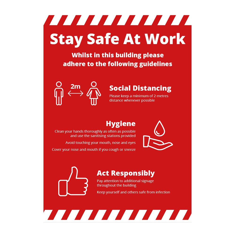 Sign - Stay Safe At Work Alert