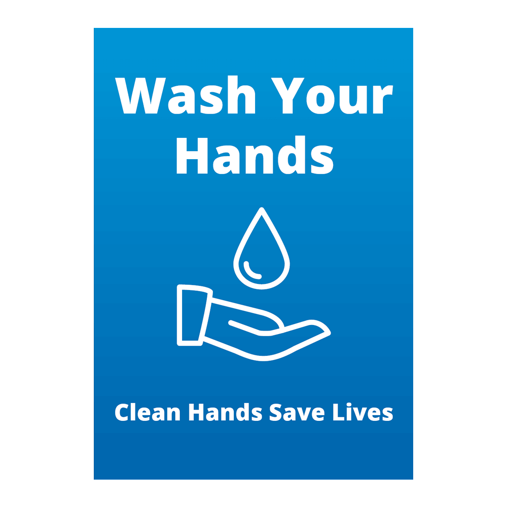 Sign - Wash Your Hands Blue